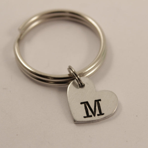 Custom Hand Stamped Initial Keychain - Small Heart - Keychains - Completely Hammered - Completely Wired