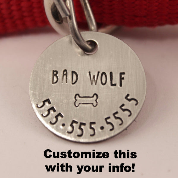 1 inch Personalized Dog ID Tag / Cat tag - one side - Name, phone & bone only - Completely Hammered