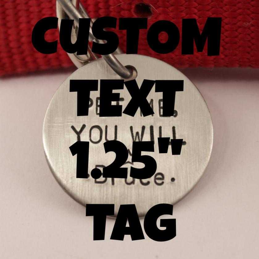 1.25 inch CUSTOM TEXT Pet ID Tag - your choice of text and pet's name and phone number on the back - PET ID TAGS - Completely Hammered - Completely Wired