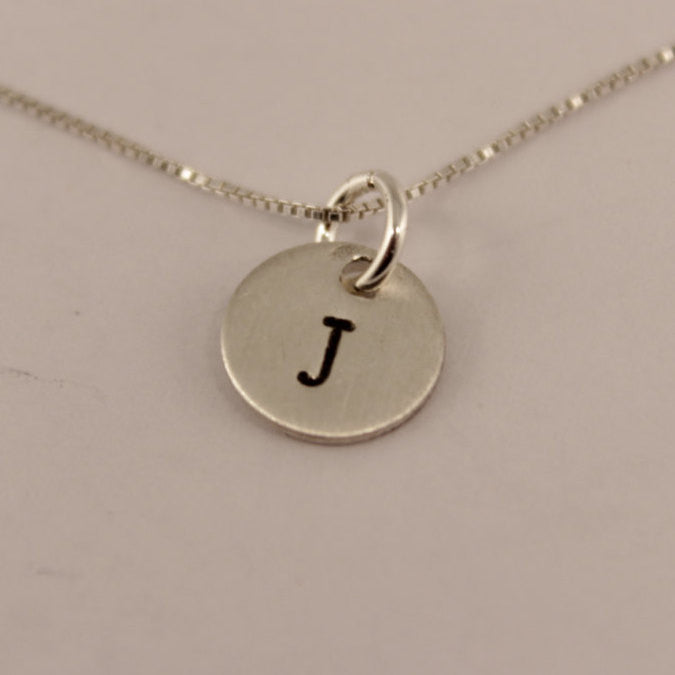 Petite Sterling Silver Initial Charm Necklace - Additional charms can be added on! - Necklaces - Completely Hammered - Completely Wired