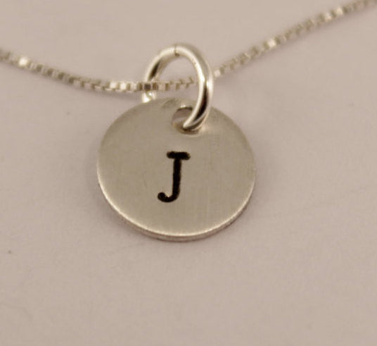 "ADD ON - Sterling Silver 3/8"" Charm with Initial ONLY  (no chain) - Add Ons - Completely Hammered - Completely Wired"