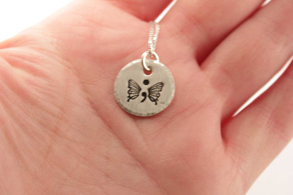 """Hope"" Hand Stamped Semi Colon Butterfly Necklace - Sterling Silver - Completely Hammered"
