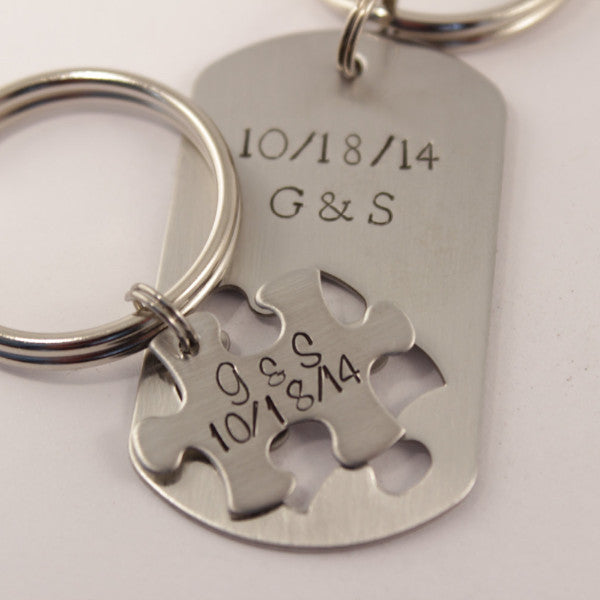 Custom Text Puzzle Piece Dog Tag Set - Keychains - Completely Hammered - Completely Wired