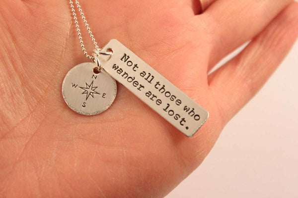 Not all those who wander are lost - sterling silver charm necklace with compass charm - Necklaces - Completely Hammered - Completely Wired