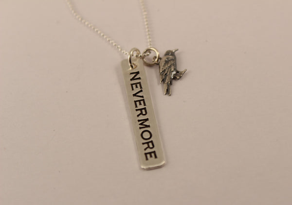NEVERMORE necklace with Raven charm - Hand Stamped Sterling Silver -  - Completely Hammered - Completely Wired