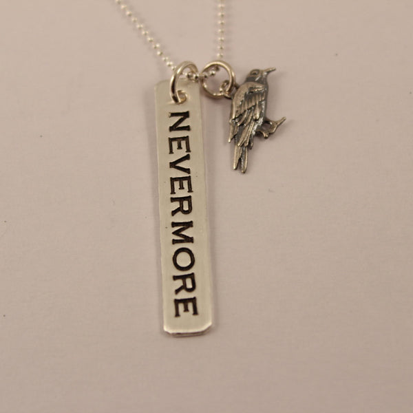 """NEVERMORE"" necklace with Raven charm - Hand Stamped Sterling Silver - Necklaces - Completely Hammered - Completely Wired"