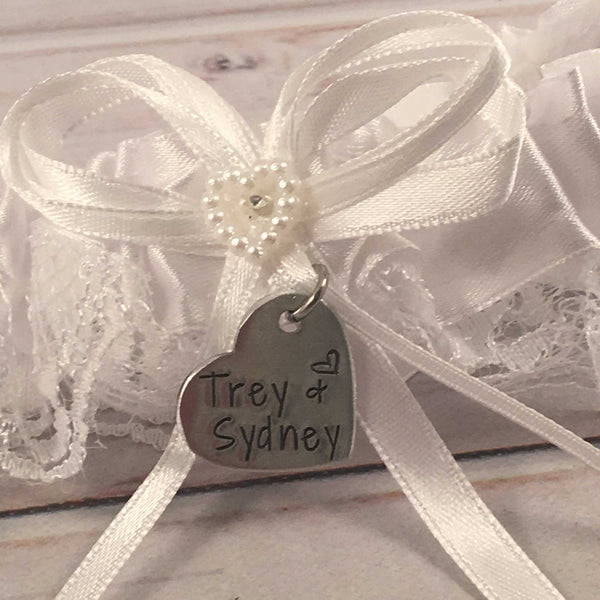 Hand Stamped, personalized Garter / bouquet charm #SIL - Add Ons - Completely Hammered - Completely Wired