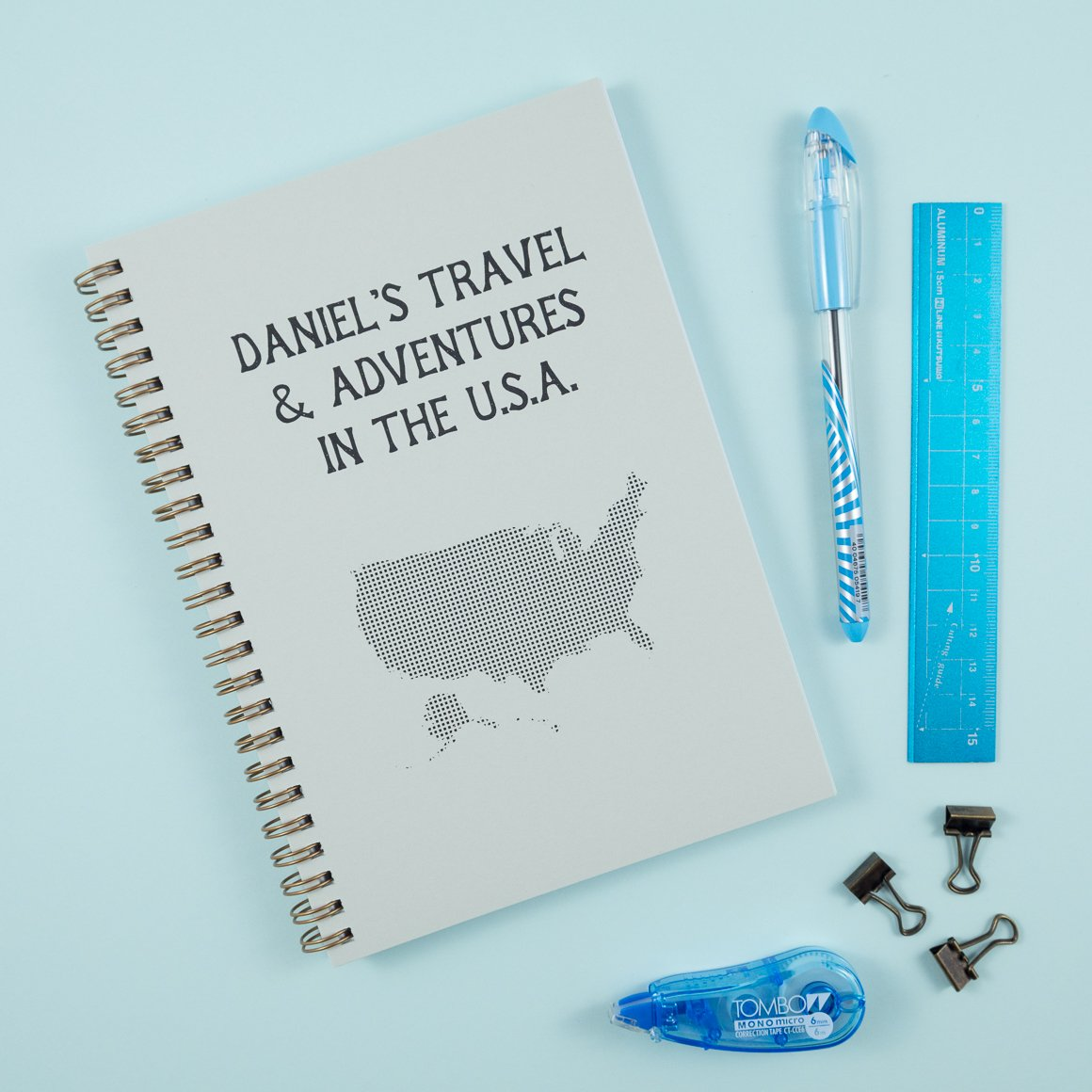 USA america personalised travel journal