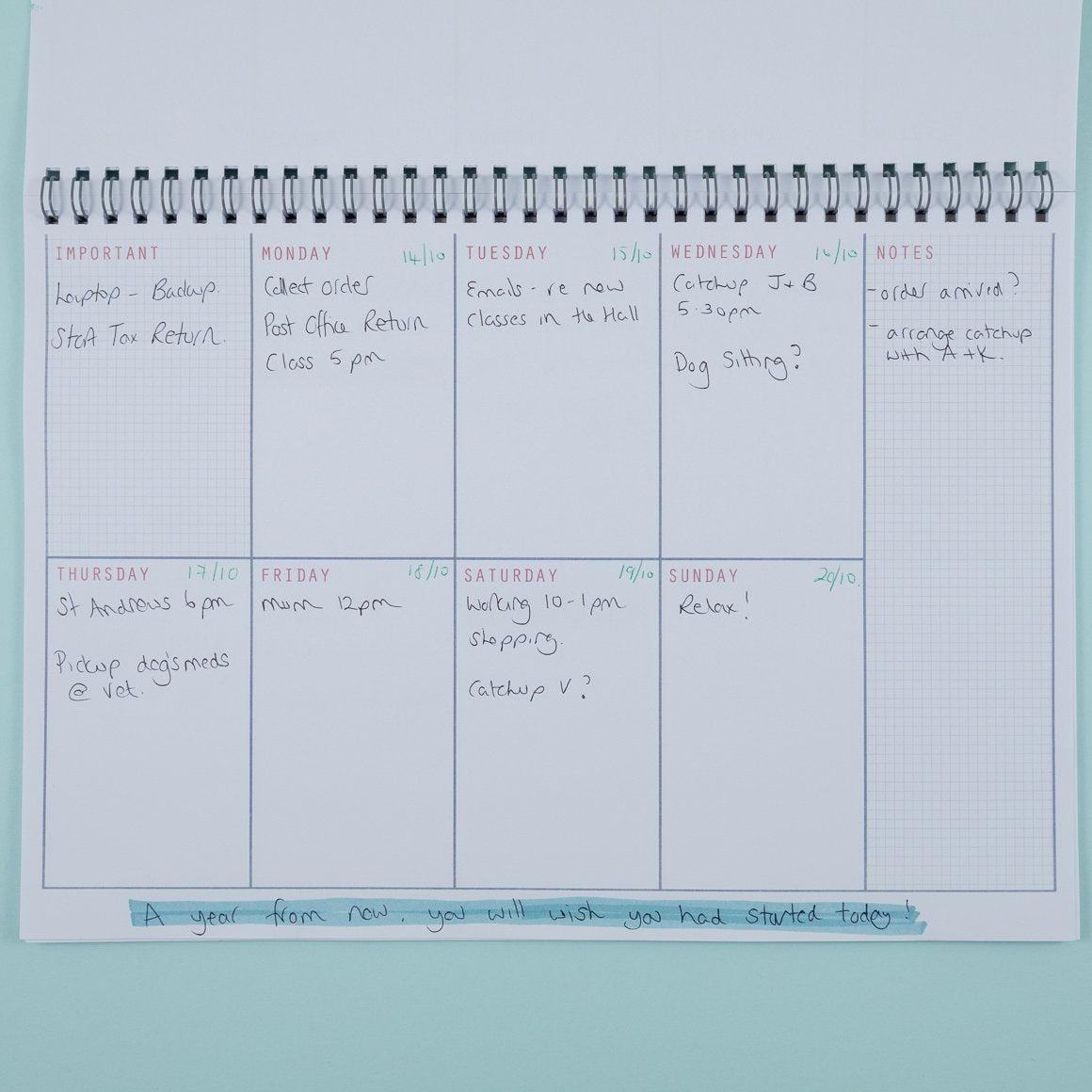 7 day planner undated