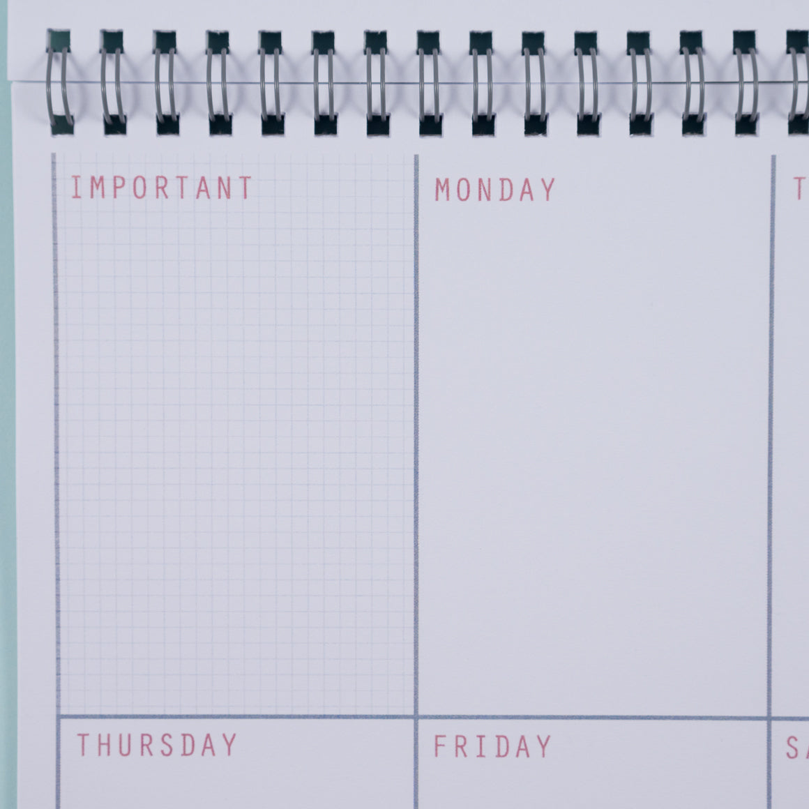 personalised undated weekly planner close up