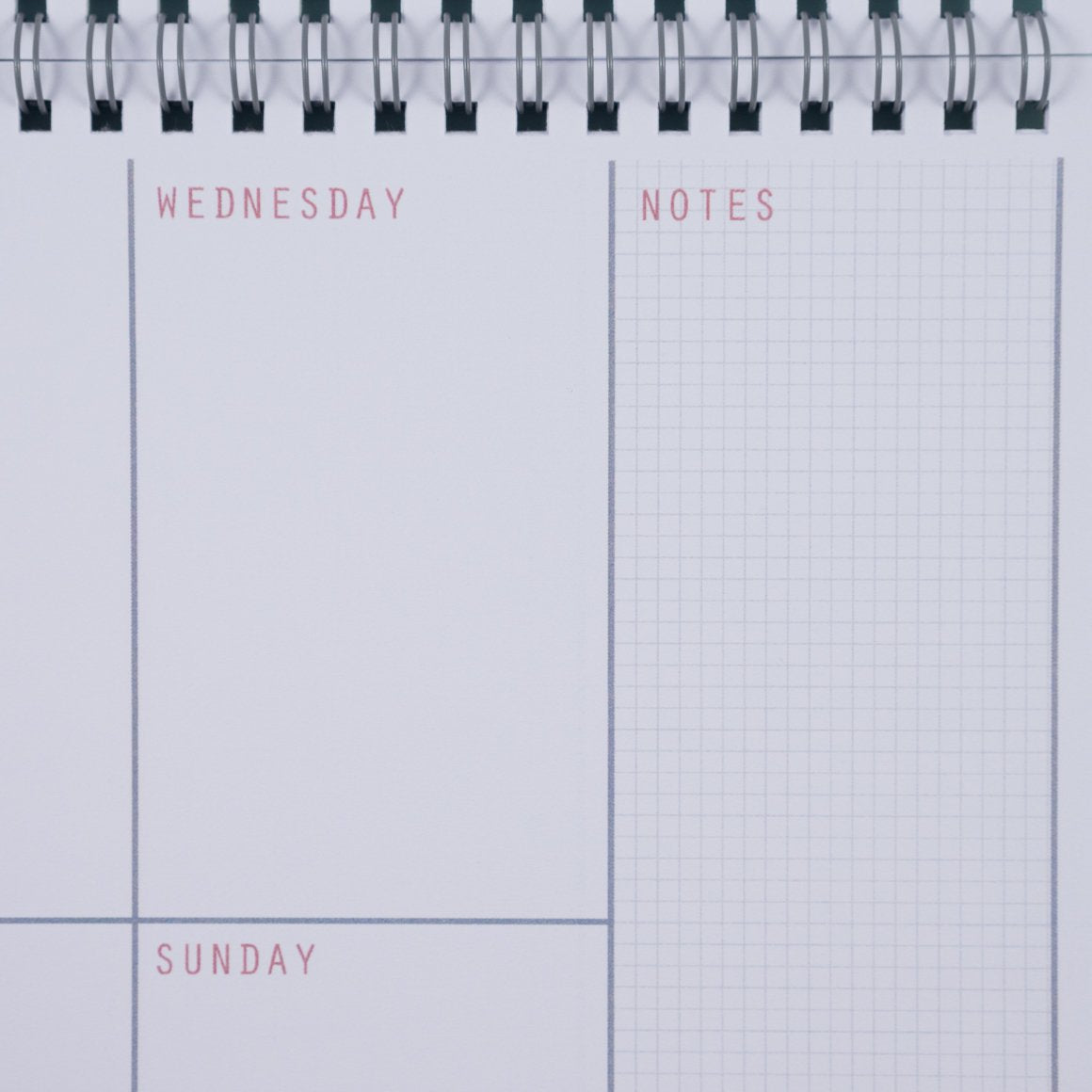 undated weekly planner close up