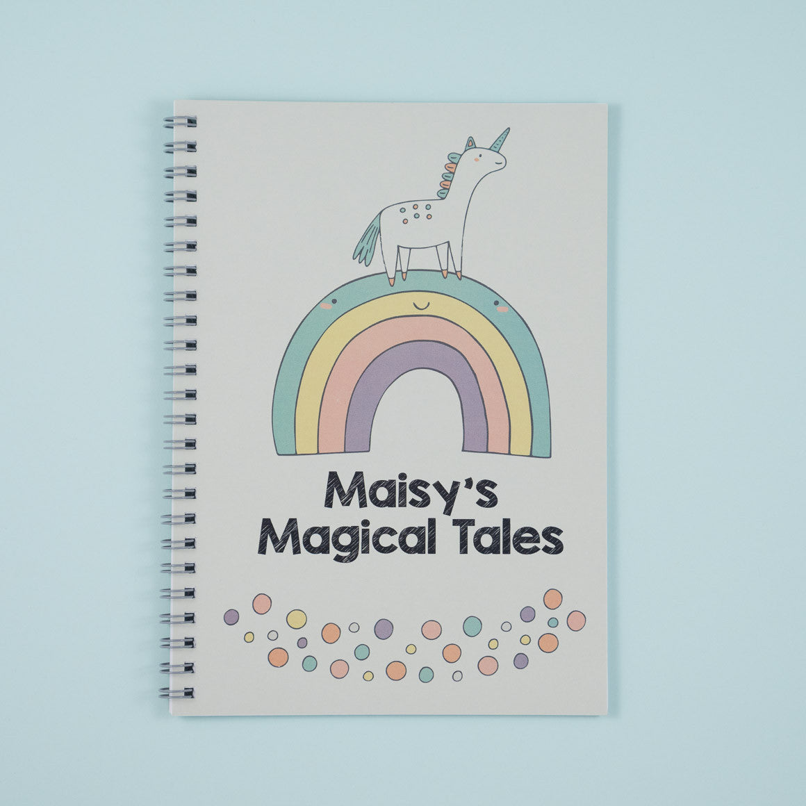 personalised unicorn rainbow notebook for children