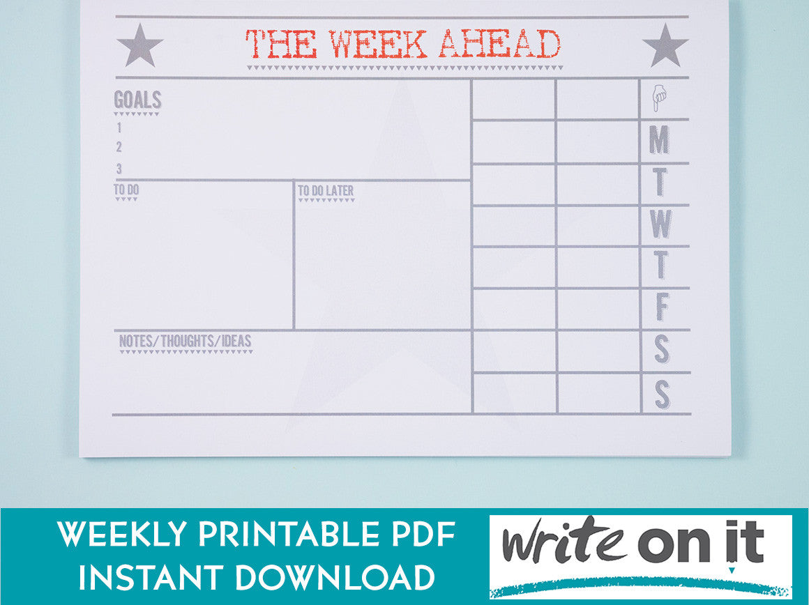 printable a4 weekly planner