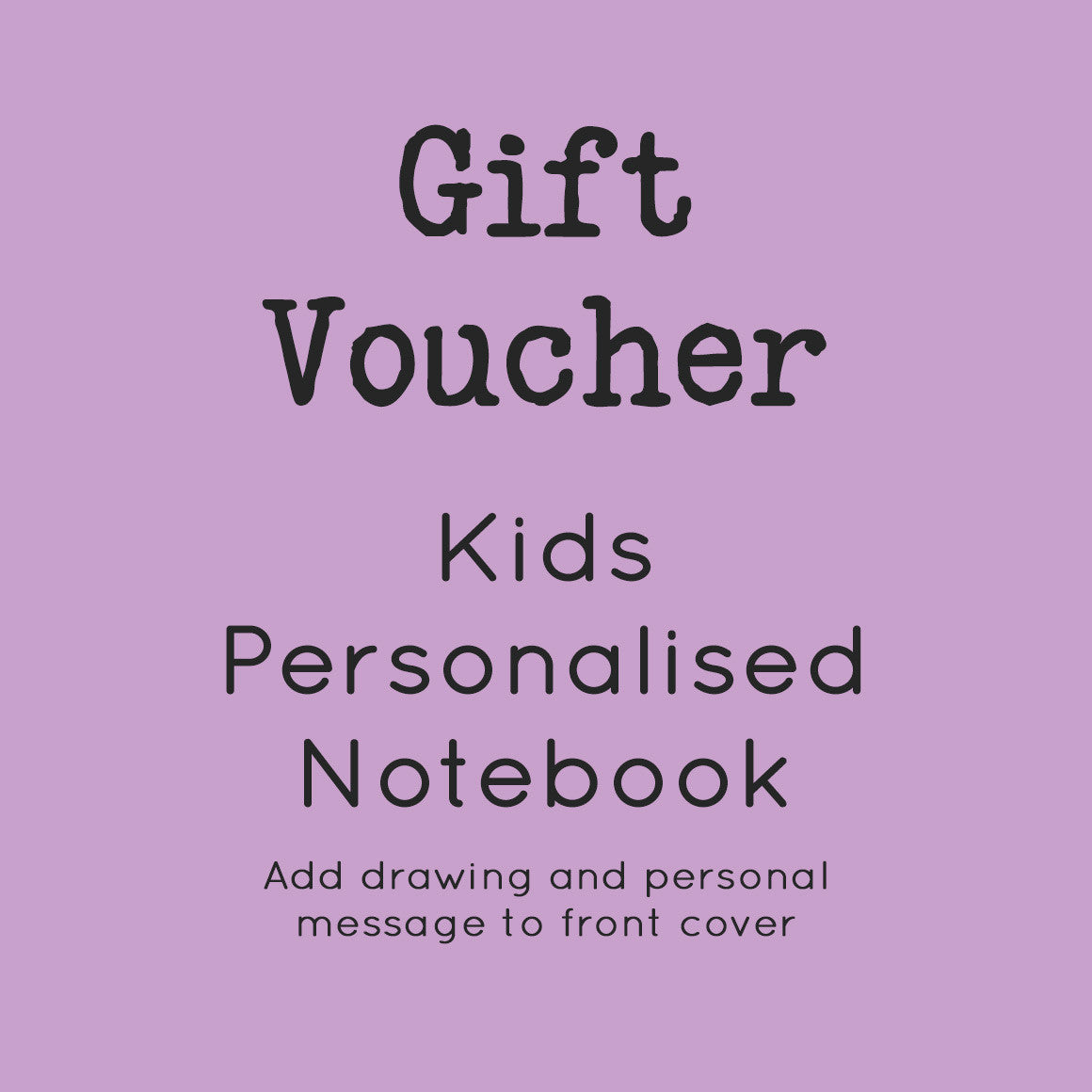 gift voucher kids personalised notebook