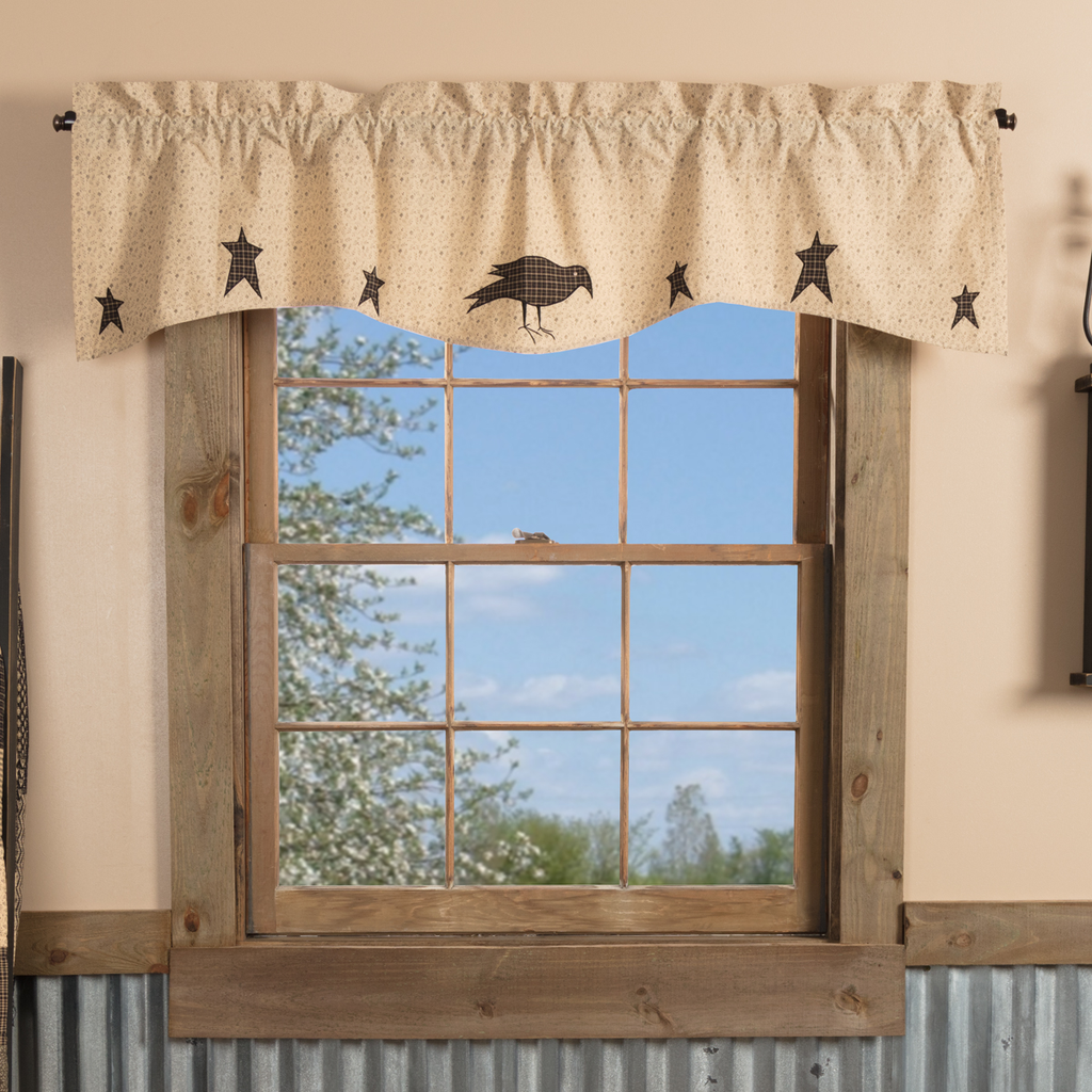 Kettle Grove Applique Crow & Star Valance 16X60