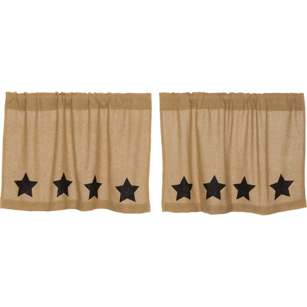 Burlap w/Black Stencil Stars - Curtains