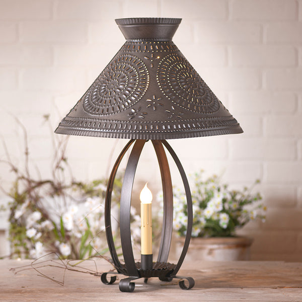 Betsy Ross Lamp w/Punched Tin Shade in Blackened Tin