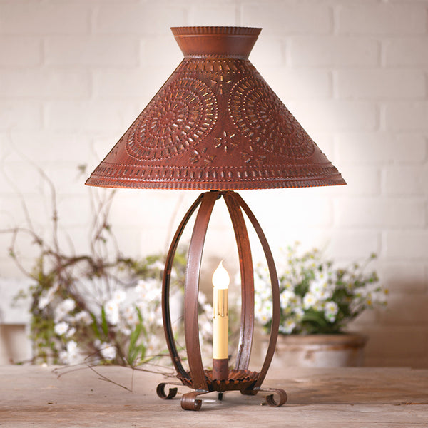 Betsy Ross Lamp with Chisel Shade in Rustic Tin