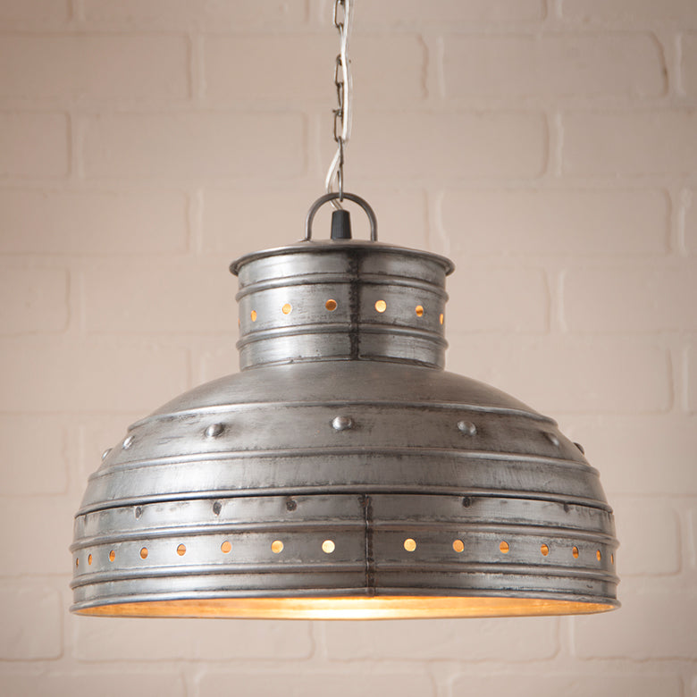 Breakfast Table Pendant Hanging Light in Brushed Tin