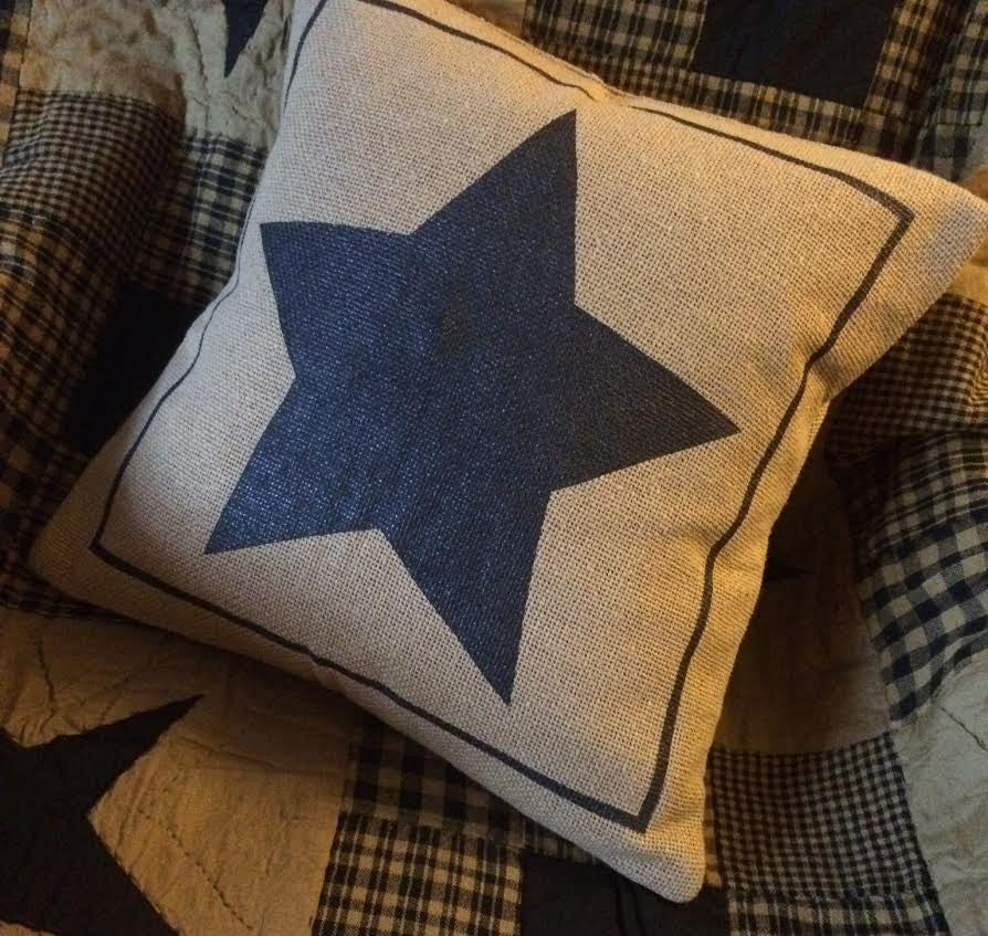 Black Stencil Star Burlap Pillow Cover 16x16""