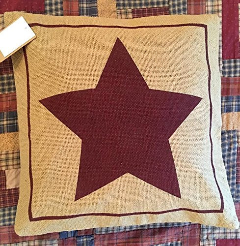 Burgundy Stencil Star Burlap Pillow Cover