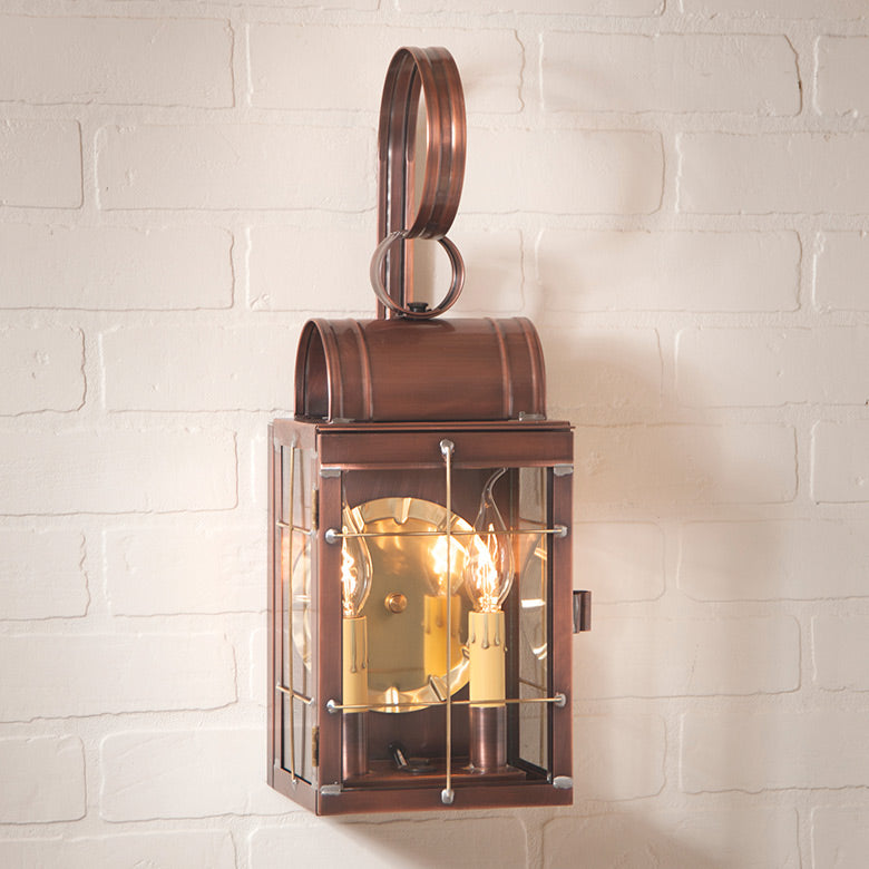 Double Wall Lantern in Antique Copper