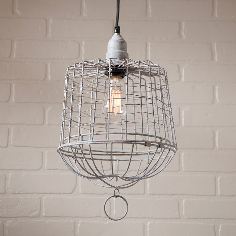 Egg Basket Cage Pendant in Weathered Zinc Hanging Light