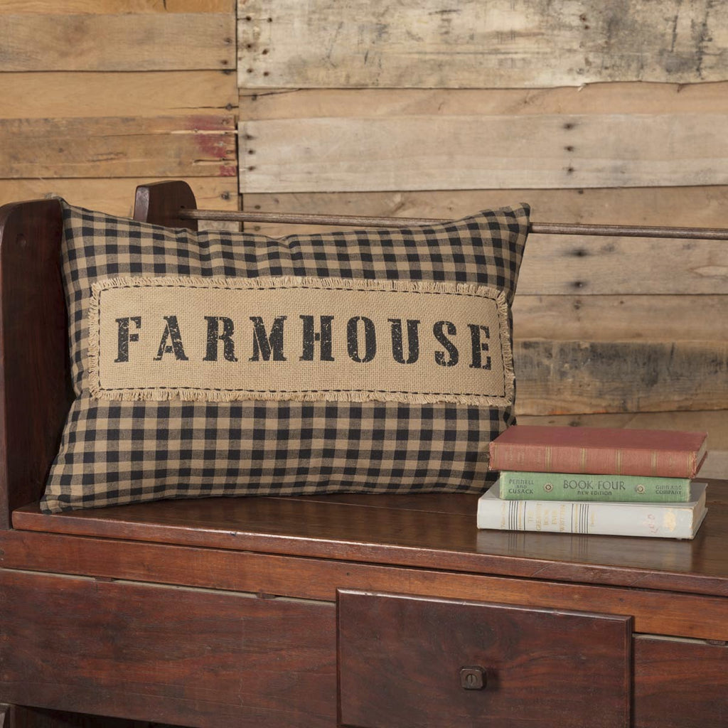 Farmhouse Pillow Cover - Black Check and Burlap