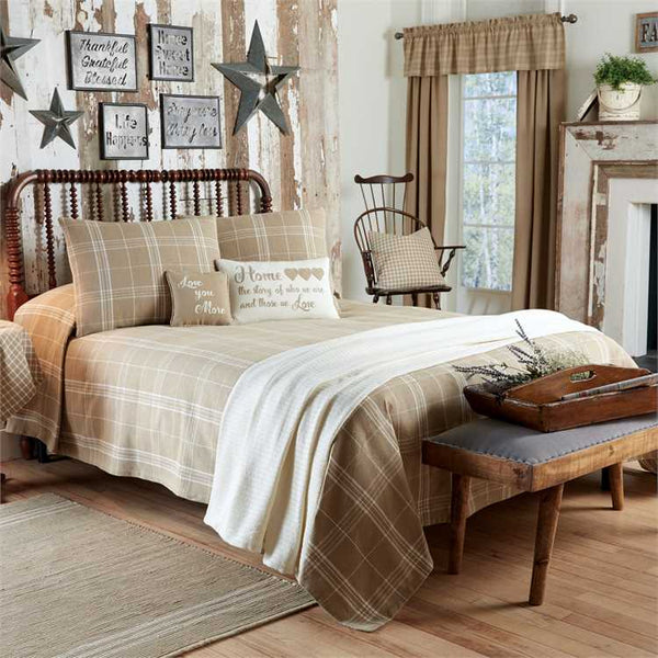 Fieldstone Plaid - Cream Bedspread