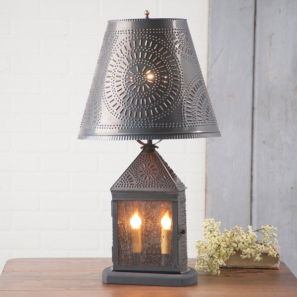 Harbor Lamp with Chisel Shade in Blackened Tin