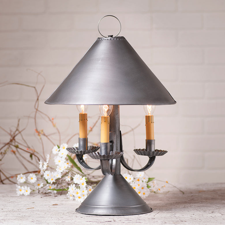 Walker House Shaded Lamp in Antique Tin