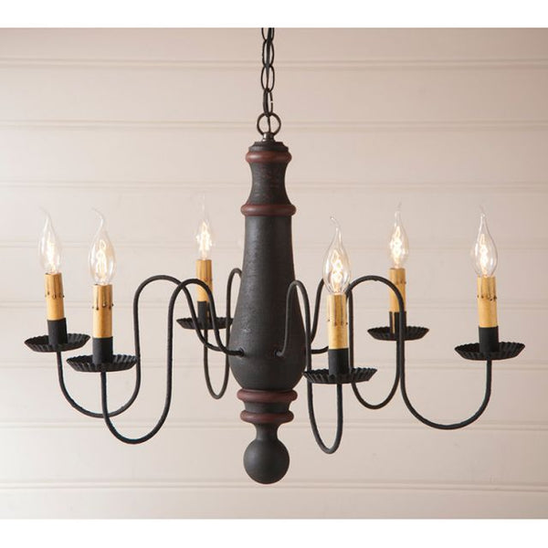 6-Arm Large Norfolk Wood Chandelier 7 Color Choices