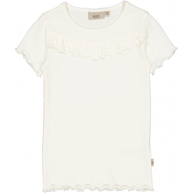 Wheat Geripptes T-Shirt mit Raffungen Jersey Tops and T-Shirts 3182 ivory