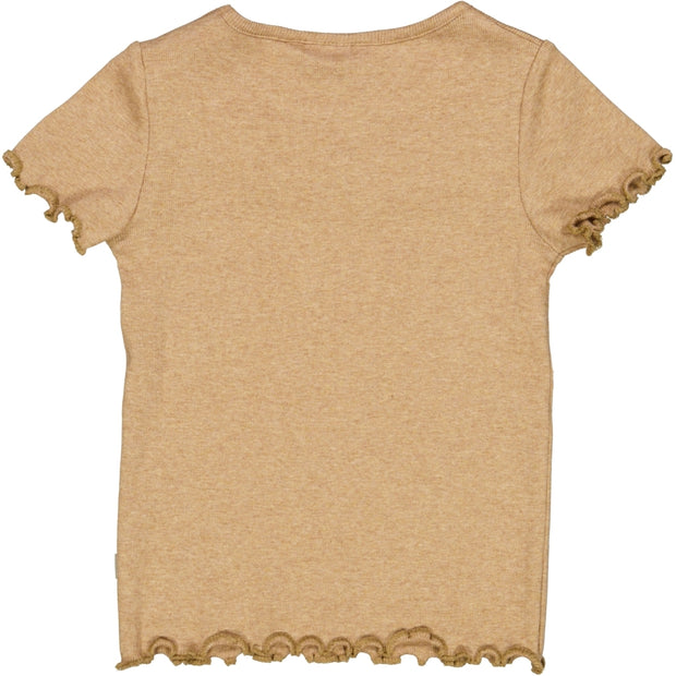 Wheat Geripptes T-Shirt mit Raffungen Jersey Tops and T-Shirts 3230 sand melange
