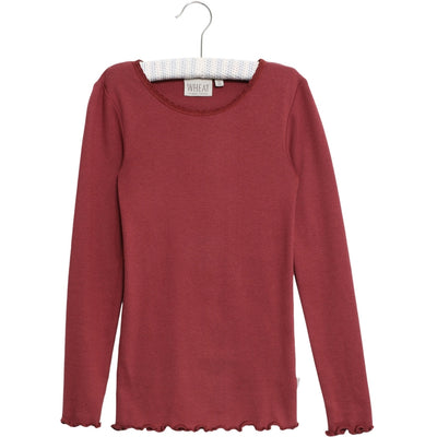 Wheat Ripp T-Shirt mit Spitze Langarm Jersey Tops and T-Shirts 2105 burgundy