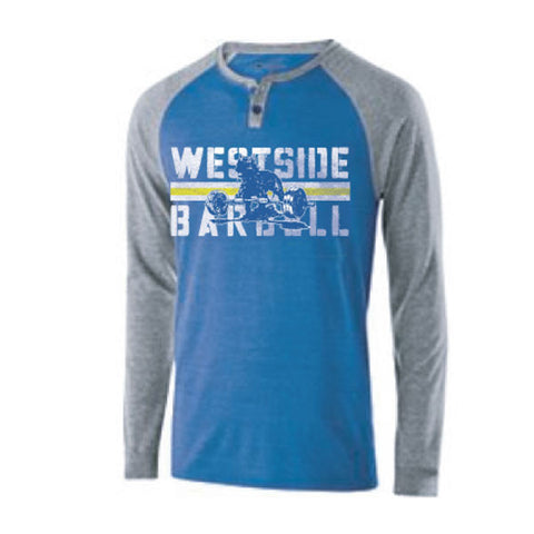 Westside Barbell™ Vintage Raglan Alumni Shirt - Royal Blue / Gray
