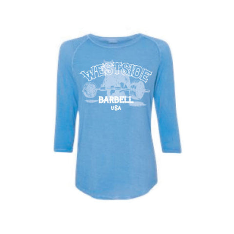 Westside Barbell™ USA Ladies Oasis Wash 3/4 Sleeve Tee - Deep Periwinkle