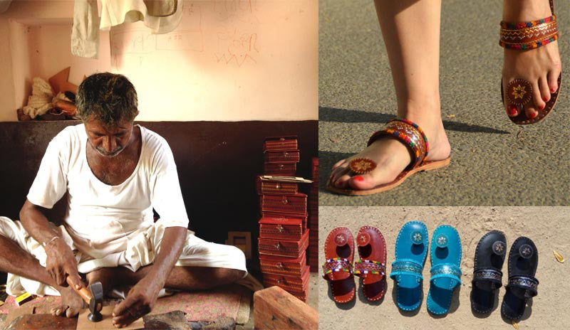 Indian artisan making leather products