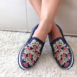 Slip On Bordado Azul - Swarna