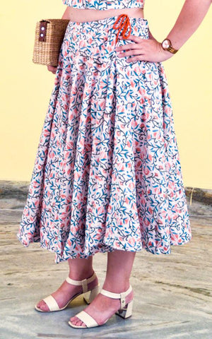 Saia Midi Estampada Floral - Breeze