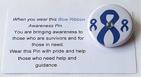 Child Abuse-Colon Cancer-Education Blue Awareness Ribbon Button with Jewel
