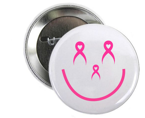 Breast Cancer Smiley Face  Button