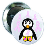 Pink Ribbon Penguin Button - Awareness Promotionals
