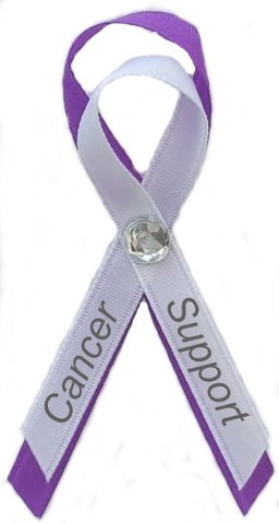 4Cancer Support, Alzheimer's Awareness Ribbon Pin Purple and White