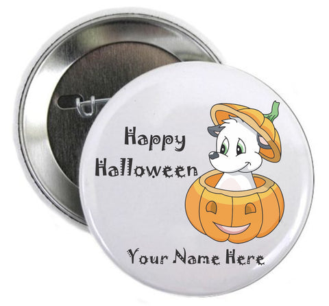 Halloween Button Dog in Pumpkin Pin - Awareness Promotionals