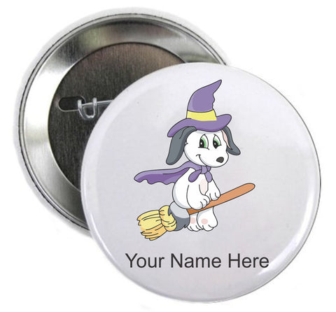 Halloween Button Dog on Broom - Awareness Promotionals