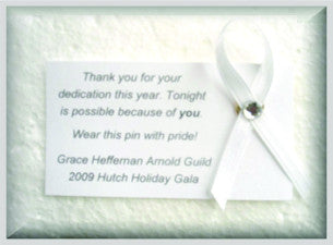 Funeral White Awareness Ribbon Pin Example