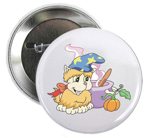 Halloween Button Cute Dressed Up Dog Witch - Awareness Promotionals