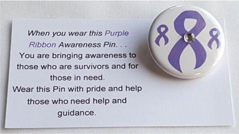 Crohn's Disease, Epilepsy, Animal Abuse, Alzheimer's, Lupus Purple Awareness Ribbon Button with Jewel