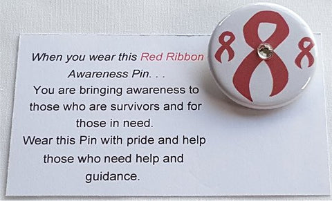 Aids-DARE-MADD-Red Ribbon Week Button Red Awareness Ribbon Pin with Jewel